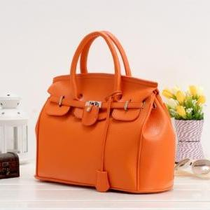 Women Fashion Orange Platinum Handb..