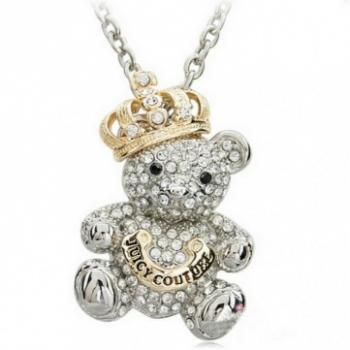Rhinestone bear necklace