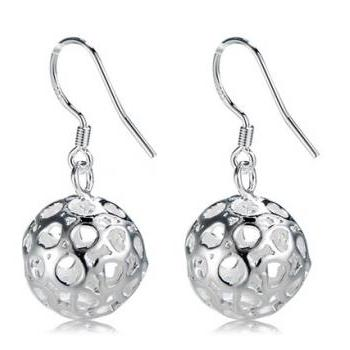 Hollow out ball style 925 silver plated earrings